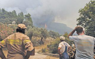Σύμφωνα με τις πρώτες εκτιμήσεις, έχουν καεί ήδη 20.000 στρέμματα δάσους.