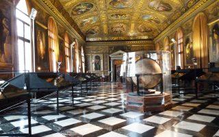 Στη σάλα της Libreria Sansoviniana στη Μαρκιανή Βιβλιοθήκη θα φιλοξενηθούν οι εκδόσεις του Αλδου Μανούτιου, ο οποίος διέδωσε Αριστοτέλη, Πλάτωνα, Θεόφραστο.