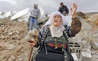 Κατεδάφιση παλαιστινιακών σπιτιών νοτίως της Χεβρώνας στις 2 Φεβρουαρίου. Για το επίσημο ισραηλινό κράτος το ζήτημα αντιμετωπίζεται ως πολεοδομική παράβαση.