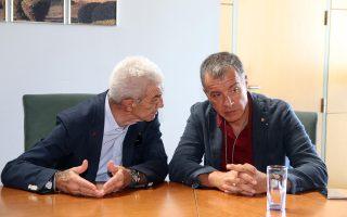 Ο Στ. Θεοδωράκης με τον Γ. Μπουτάρη κατά τη χθεσινή τους συνάντηση.