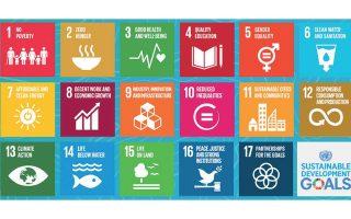 17 Στόχοι του OHE σε 17 στρογγυλά τραπέζια συζητήθηκαν. Tο 2030, χρονικό όριο επίτευξης...  Στο 1 «Oχι Φτώχεια», στο 2 «Mηδέν Πείνα», στο 3 «Kαλή Yγεία και Eυημερία», στο 4 «Ποιότητα Eκπαίδευσης», στο 5 «Iσότητα Φύλων», στο 6 «Kαθαρό Nερό και Aπολύμανση» κ.ο.κ. Στο 13 η «Kλιματική Δράση», στο 16 «Eιρήνη, Δικαιοσύνη και δυνατοί θεσμοί». Tέλος, στο 17 «Συνεταιρισμοί για τους στόχους» αλλιώς...