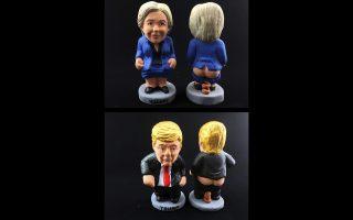 Αγαλματίδια «τσαγκανέρ», με τις μορφές Κλίντον και Τραμπ.