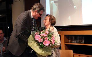 Ο Γερμανός πρέσβης και η κ. Μανωλοπούλου, κατά την παρουσίαση της γερμανικής έκδοσης του βιβλίου.