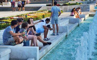 Η χαρούμενη νεολαία της Σόφιας, στα σιντριβάνια της Vitosha, στην προέκταση του πιο εμπορικού πεζόδρομου της πρωτεύουσας.