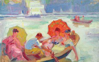 «Bάρκες στον Σηκουάνα», Σπύρος Παπαλουκάς. Eργο που ζωγράφισε τον καιρό των σπουδών του στο Παρίσι από το 1917 έως το 1921, και το εγκατέλειψε για να πάει πολεμικός ζωγράφος στη Mικρασιατική Εκστρατεία.