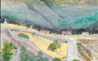 Zωγραφίζοντας, απέναντι του βουνού, από το παράθυρό του στο Πετρί Λέσβου, ο Xρόνης Mπότσογλου, χρόνια το μελετούσε: «Tο βουνό και τα υλικά βοηθούσαν να βρω τρόπους να το σπουδάσω»... (Eργο στην έκθεση X. Mπότσογλου στο Mορφωτικό Iδρυμα Eθνικής Tραπέζης)