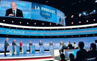 Νικητής του ντιμπέιτ των υποψηφίων για το χρίσμα της Κεντροδεξιάς αναδείχθηκε ο Αλέν Ζιπέ, δεύτερος από αριστερά και στη γιγαντοοθόνη πάνω από τη σκηνή, σύμφωνα με δημοσκόπηση μετά τη συζήτηση. Με τον Ζιπέ αντιπαρατέθηκαν ο Μπρινό Λεμέρ, η Ναταλί Κοσιουσκό-Μοριζέ, ο Νικολά Σαρκοζί, ο Ζαν-Φρανσουά Κοπέ, ο Ζαν-Φρεντερίκ Πουασόν και ο Φρανσουά Φιγιόν.