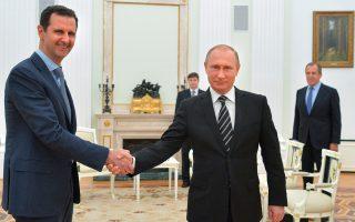 Μπασάρ αλ Ασαντ - Βλαντιμίρ Πούτιν. Ο δεύτερος, με τη βοήθεια που προσφέρει, ενισχύει την εξουσία του Σύρου προέδρου.