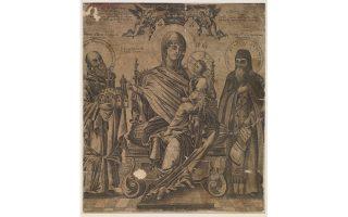 Η Παναγία Οικονόμισσα με τον Αγιο Αθανάσιο Αθωνίτη και τον Αγιο Αντώνιο Πετσέρσκι, ιδρυτή της Λαύρας του Κιέβου. Από τη συλλογή της Ντόρης Παπαστράτου.
