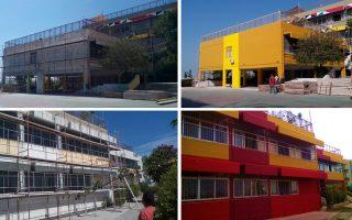 Στη φωτογραφία, το 13ο Δημοτικό Σχολείο Αθηνών, στο Μετς, πριν (αριστερά) και μετά (δεξιά) τις παρεμβάσεις. Το χειροκρότημα των μαθητών έδειξε ότι βαθμολόγησαν το δείγμα γραφής με άριστα...