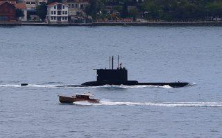 Tουρκικό υποβρύχιο στο Αιγαίο. Τρία τέτοια (μεταξύ των οποίων το «Dolunay») είχαν δεσμεύσει εκτεταμένες περιοχές σχεδόν στο σύνολο του πελάγους, όπου και κινήθηκαν καθ' όλη τη διάρκεια του Σεπτεμβρίου.