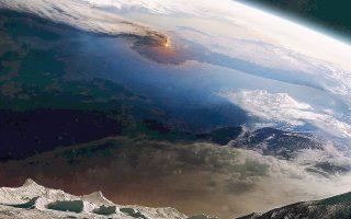 Κρακατόα, 1883. Φανταστική απεικόνιση του πώς θα πρέπει να φαινόταν η έκρηξη του ηφαιστείου από το Διάστημα.