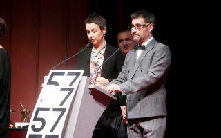 Η Ελίζ Ζαλαντό και ο Ορέστης Ανδρεαδάκης, κατά την απονομή των βραβείων του 57ου Φεστιβάλ Θεσσαλονίκης. Αμφότεροι έκαναν λόγο για το άνοιγμα της διοργάνωσης στις ιδέες και στην πόλη.