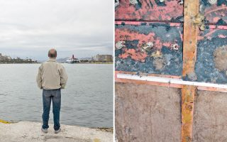 Ο 60χρονος πρώην ναυτικός (αριστερά) εργαζόταν ως ηλεκτρολόγος σε εμπορικά πλοία και κρουαζιερόπλοια και ερχόταν σε επαφή με τον αμίαντο. Λόγω των ιδιοτήτων του, ο αμίαντος ήταν υλικό επιλογής και χρησιμοποιούνταν και στις μονώσεις πλοίων. Στη φωτογραφία, δεξιά, διακρίνονται υπολείμματα αμιάντου κατά τη διαδικασία αφαίρεσής του από εξειδικευμένο συνεργείο.