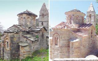 Παραπάνω από εμφανείς είναι οι διαφορές στον ναό του Αγίου Πέτρου, που παρουσίαζε εκτεταμένες φθορές (αριστερά), οι οποίες αποκαταστάθηκαν πλήρως (δεξιά), αναδεικνύοντας τον χώρο.