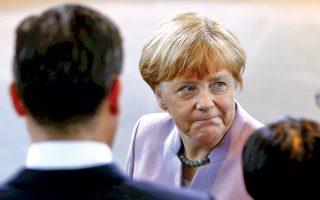 Η Γερμανίδα καγκελάριος Αγκελα Μέρκελ χθες στην καγκελαρία, στο Βερολίνο.