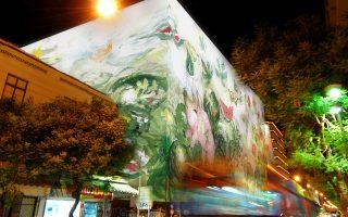 Κάπως έτσι θα δείχνει το ΜΙΝΙΟΝ τη νύχτα, όταν ολοκληρωθεί η κάλυψή του με ένα έργο του ζωγράφου Γιάννη Κόττη (γραφείο Κοκκίνου+Κούρκουλας).