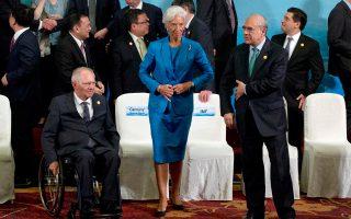 Κριστίν Λαγκάρντ - Βόλφγκανγκ Σόιμπλε. Οι δηλώσεις του Γερμανού υπουργού Οικονομικών κατά τη διάρκεια του τελευταίου Eurοgroup προβλημάτισαν το Διεθνές Νομισματικό Ταμείο.