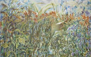 «Κοίτη ποταμού», Νίκος Χατζηκυριάκος-Γκίκας (1906-1994), έργο 1970. Λάδι σε καμβά, 96x130 εκ. Προέλευση: Ιδιωτική Συλλογή, Παρίσι.