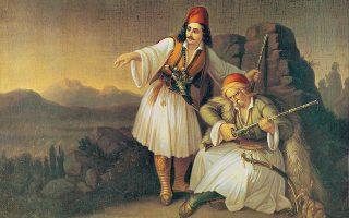 «Η ελληνική κοινωνία μπήκε στον Αγώνα της Ανεξαρτησίας του 1821 χωρίς τη δέουσα προετοιμασία. Κατά την άποψή μου, καλώς, με την προσθήκη ότι κάθε επιλογή έχει τα παρεπόμενά της», λέει ο ιστορικός Βασίλης Παναγιωτόπουλος. Στη φωτογραφία, «Το καραούλι» του Θ. Βρυζάκη. Συλλογή Κουτλίδη, Εθνική Πινακοθήκη.