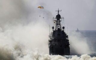 Ρωσικό πολεμικό πλοίο, κατά τη διάρκεια αποβατικών γυμνασίων στην Κριμαία, τον Σεπτέμβριο.