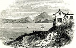 Τοπίο στο Αργοστόλι και στο βάθος το Ληξούρι. Μέσα 19ου αιώνα.