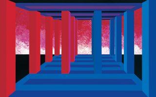 Γεωμετρικά στοιχεία προοπτικής και ζωγραφικές πινελιές στο έργο «Τρίκλιτος Χώρος» (1999) της Οπυς Ζούνη που παρουσιάζεται στο Μουσείο Μπενάκη.