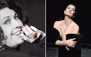 Αριστερά, η Νεφέλη Ορφανού ως Ρόζα Εσκενάζυ, στον πολυχώρο «Αθηναΐς», σε σκηνοθεσία Αντώνη Λουδάρου. Δεξιά, η Μίνα Χειμώνα υποδύεται τη Μάγια Μελάγια στο «Altera Pars», σε σκηνοθεσία Δημ. Χαλιώτη.