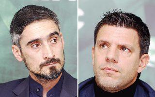 Αριστερά, ο Νίκος Λυμπερόπουλος. Δεξιά, ο Τάκης Φύσσας.