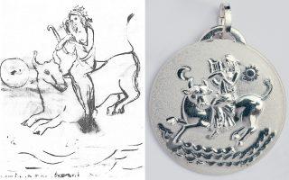 Αριστερά, το σχέδιο της Ιόλης Ξιφαρά για το γούρι των Φίλων της Μουσικής και, δεξιά, το κόσμημα στην τελική μορφή του.