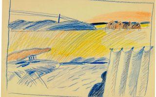 Κυριάκος Κρόκος, «Χωρίς τίτλο», μολύβι και ακουαρέλα σε χαρτί. Τέλη '80. Η οικία Σπητέρη φιλοξενεί δύο έργα του, δωρεές της Λέτης Αρβανίτη -Κρόκου, που αναδεικνύουν τον λυρικά αυστηρό σχεδιασμό του.