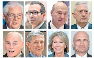 Δυσανάλογα μεγάλη θα είναι η εκπροσώπηση μελών της τραπεζικής και επιχειρηματικής κοινότητας, αλλά και εν αποστρατεία ανωτάτων στρατιωτικών, στο μελλοντικό υπουργικό συμβούλιο του νεοεκλεγέντος στην προεδρία των Ηνωμένων Πολιτειών Ντόναλντ Τραμπ. Mεταξύ άλλων, θα μετέχουν (1η σειρά από αριστερά) ο επιχειρηματίας Ρεξ Τίλερσον, το στέλεχος της Goldman Sachs Γκάρι Κόουν, ο τραπεζίτης της Goldman Sachs στη Γουόλ Στριτ Στίβεν Μνιούτσιν, ο στρατηγός Τζέιμς Μάτις, (2η σειρά) ο στρατηγός Τζον Κέλι, ο στρατηγός Μάικλ Φλιν, η επιχειρηματίας Μπέτσι Ντιβάς και ο επιχειρηματίας ταχυφαγείων Αντριου Πάζντερ.