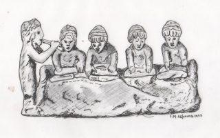«Γυναίκες που ζυμώνουν ψωμί», ειδώλιο από πηλό, Βοιωτία, 5ος αιώνας π.Χ.