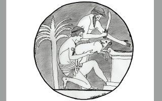 Θυσία χοίρου. Λεπτομέρεια από αρχαίο κεραμικό αγγείο.