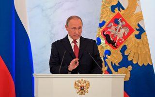 Ο Ρώσος πρόεδρος κατά τη διάρκεια της χθεσινής ομιλίας του προς το ρωσικό έθνος.