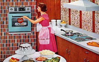Η κουζίνα στην Ελλάδα της δεκαετίας του 1960. Εικονογράφηση από το βιβλίο της Μαρίας Τσοσκουνόγλου (εκδόσεις Περίπλους).
