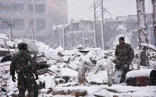Οι θερμοκρασίες είναι ιδιαίτερα χαμηλές στο ανατολικό Χαλέπι από όπου εκκενώνονται οι τελευταίοι άμαχοι.
