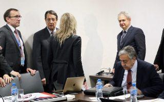 Οι κ. Αναστασιάδης, Ακιντζί και Εϊντε, στο περιθώριο της χθεσινής διαπραγμάτευσης.