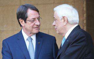 Υποδεχόμενος τον κ. Πρ. Παυλόπουλο, ο πρόεδρος της Κυπριακής Δημοκρατίας, Νικ. Αναστασιάδης, περιέγραψε ως κοινή επιδίωξη Αθηνών - Λευκωσίας, «μια λύση που να είναι απολύτως συμβατή με το ευρωπαϊκό κεκτημένο».