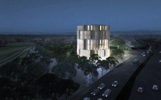 Εξαώροφο κυκλικό κτίριο από μέταλλο και γυαλί, που θα υψωθεί στον ιστορικό τόπο της αρχής του τέλους 55.000 Ελλήνων Εβραίων της Θεσσαλονίκης, θα αλλάξει τον χάρτη της δυτικής εισόδου της πόλης και τον χάρτη των μνημείων και μουσείων Ολοκαυτώματος της Ευρώπης.