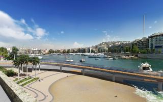 Αποψη της ράμπας που θα συνδέσει τη Μαρίνα Ζέας με την Ακτή Μουτσοπούλου, επιτρέποντας στο κοινό να παρατηρεί τις αρχαιότητες από το επίπεδο της θάλασσας. Από τη μελέτη του γραφείου Anamorphosis Architects.