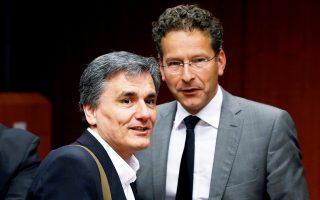 Ευκλείδης Τσακαλώτος και Γερούν Ντάισελμπλουμ, στο περιθώριο παλαιότερης συνεδρίασης του Eurogroup.