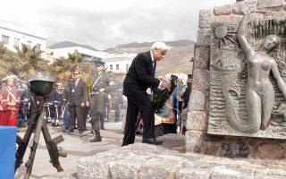 Στεφάνι στο Μνημείο Πεσόντων στην Κάλυμνο κατέθεσε χθες ο ο Πρόεδρος της Δημοκρατίας Προκόπης Παυλόπουλος.