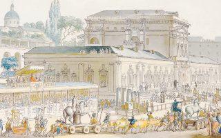 «Στιγμιότυπο» από την Πομπηία στη μεγάλη της ακμή – όπως τη φαντάστηκε ο ζωγράφος και αρχιτέκτονας Louis-Jean Desprez το 1778.