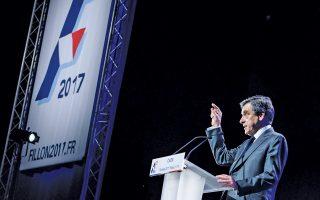 Ο Φρανσουά Φιγιόν μιλάει την Πέμπτη σε προεκλογική συγκέντρωση στην πόλη της Καέν στη βόρεια Γαλλία.