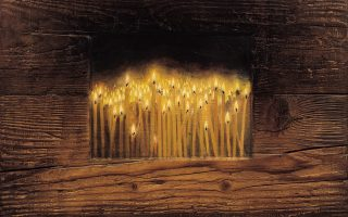 Κεριά, ελαιογραφία σε ξύλο (2002). Eργο του Χρήστου Μποκόρου από την έκθεση «Νόστος Αδήλων».