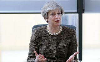 Η Βρετανίδα πρωθυπουργός Τερέζα Μέι σε χθεσινή επίσκεψή της σε πανεπιστήμιο της Ουαλλίας στο Σουανσί.