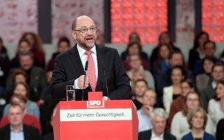 O Σοσιαλδημοκράτης υποψήφιος καγκελάριος και πρώην πρόεδρος της Ευρωβουλής Μάρτιν Σουλτς στο συνέδριο του κόμματος στο Βερολίνο την Κυριακή.