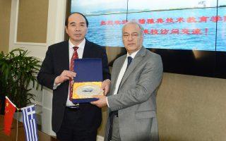 Στιγμιότυπο από την επίσκεψη σε κινεζικά ΑΕΙ του προέδρου του ΤΕΙ Αθήνας Μιχάλη Μπρατάκου.