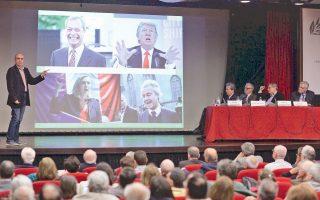 Ο καθηγητής  Αριστείδης Χατζής παρουσιάζει το διεθνές ζήτημα του λαϊκισμού στην Ελληνοαμερικανική Ενωση.